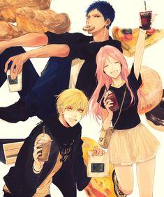 (Kuroko no Basuke) Aomine Daiki, Momoi Satsuki and Kise Ryouta Kise Ryouta, Kagami Taiga, Kuroko Tetsuya, Kuroko No Basket, Anime Guys, Manga Anime, Anime Art, Otaku, L Dk