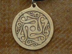 Handmade Celtic Swirls Pendant Etched in Brass by ValhallasAnvil, $30.00