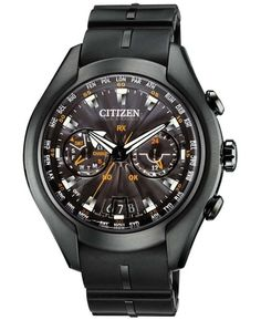 luxe-menswear: Citizen Men's Eco-Drive Satellite Wave-Air Gray Titanium and Polyurethane Strap Watch 50mm CC1076-02EShop for more Watches on Wantering.