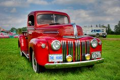 This is a 1946 Ford pickup truck. My dream car is a Patriot Blue 1945 Ford pickup.