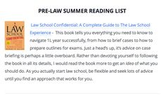 The Best Books for Pre-law Students – Summer Reading Before You Start Law School: http://lawschooli.com/pre-law-summer-reading-to-prepare-you-for-law-school/