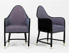 A pair of armchairs, Model No. 330/F, designed by Josef Hoffmann,