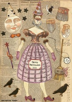 Halloween witch by Catherine Moore working with Character Constructions art stamps, French Laundry, Theater of Dreams and Mad Tea Party collections. Halloween Doll, Halloween Cards, Vintage Halloween, Paper Puppets, Paper Toys, Diy Paper, Paper Art, Paper Crafts, Photocollage