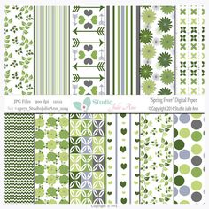 Digital Paper Pack Floral Blue Green Grey by StudioJulieAnn, Green and Gray Color Challenge