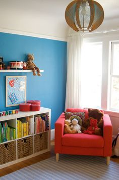 Like some of the ideas from this one for the toddler boy room, including painting one wall for color but leaving the rest white to keep it light and spacious feeling. Cute and personal accents.