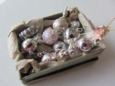 Shabby Chic  Christmas Ornaments dollshouse size white,silver ansd rose