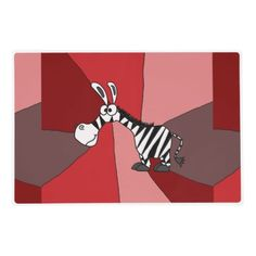Funny Zebra Abstract Art Placemat #zebras #placemats #funny #abstract And www.zazzle.com/tickleyourfunnybone*