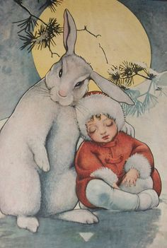 Sleeping child print sitting on the snow in the moonlight with a large white rabbit - maybe from 1930s or 40s