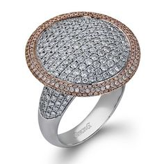 Simon G. 18K White and Rose Gold Prong Set Pave Diamond Ring Featuring 2.88 Carats Round White Diamonds