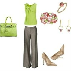Green work clothes...love this whole thing but would need either long sleeves or jacket/cardi