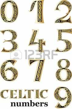 Vector illustration of Celtic numbers set isolated on white background Stock Photo - 14569059