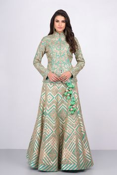 MALVIKA TALWAR mint green floral motifs jacket blouse and embroidered skirt set