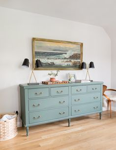 Loving this muted teal dresser for an otherwise white and neutral-colored light, bright and airy bedroom! Cozy, cute, classic and so romantic. dresser Master Bedroom Update + Another Ask the Audience - Emily Henderson Airy Bedroom, Home Decor Bedroom, Diy Home Decor, Master Bedrooms, Modern Bedroom, Teal Master Bedroom, Bedroom Lamps, Bedroom Bed, Bed Room