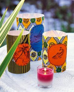 Des photophores en tissus africains / candle jar in african fabrics wax