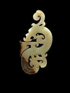 China, Plaque Ornament of a Feline Dragon, Han Dynasty, 206 BCE - 220 CE. Jade