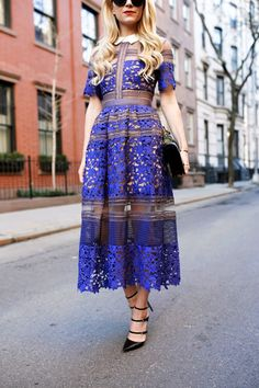 Spring / Summer - dressy style - party style - paneled electric blue and black floral lace and mesh midi dress + black ankle strap stilettos + black clutch + black sunglasses