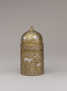 Inkwell (3 5/8 in. or 9.2 cm) with floral and animal imagery attributed to XVI c. Iran[2960x4000]