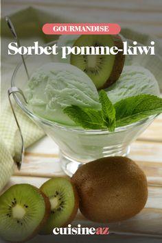 Le sorbet pomme-kiwi est un dessertvéganàbasede fruits facile à préparer. #recette#cuisine#sorbet#fruit#pomme#kiwi#vegan#glace Sorbets, Cantaloupe, Vegan, Food, Frozen Desserts, Food Porn, Ice Cream Sandwiches, Essen, Meals