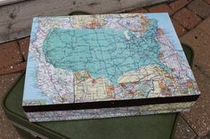 Old silverware box repurposed into a sweet map box!