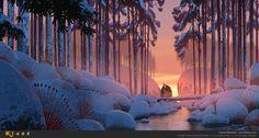 Klaus style test Szymon Biernacki Freelance Visual Development and Concept Artist Landscape Background, Animation Background, Art Background, Concept Art Landscape, Landscape Art, Landscape Paintings, Winter Landscape, Environment Concept, Environment Design