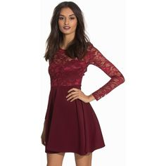 Nly One Skater Lace Back Dress (845 MXN) ❤ liked on Polyvore featuring dresses, lace cocktail dresses, skater skirt, red dress, red flared skirt and lace dress