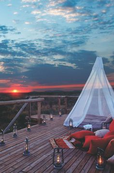 Teepee on the deck, watching the sunset by the beach surrounded by candles. Couldn't be more perfect   #beachstyle #getaway   Repin by Moeloco Flip Flops   www.moeloco.com