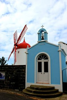BRETANHA VILLAGE ,WIND MILL AND CHAPEL. azores  Portugal