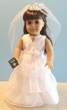 American Girl Doll Clothes - Organza Ruffle First Communion Dress Set Includes Shoes, Jewelry and Bible - 18 Inch Doll Clothes