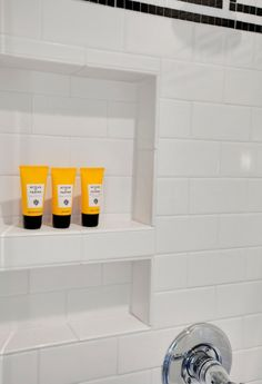 Subway tile shower niche. Long side of bullnose tile for edges. #hallwayideaslong