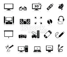 Home Entertainment icons Royalty Free Stock Vector Art Illustration