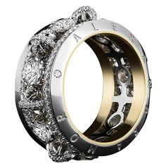 Brilliant Cut Round Diamond Gold Platinum Narrow Snowflake Eternity Band   From a unique collection of vintage band rings at https://www.1stdibs.com/jewelry/rings/band-rings/