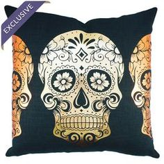 "Linen-blend pillow with a golden sugar skull motif. Handcrafted in the USA exclusively for Joss & Main.   Product: PillowConstruction Material: Linen blendColor: Black, metallic gold and metallic copperFeatures:  Handmade by TheWatsonShopZipper enclosureMade in the USA Dimensions: 18"" x 18"" Cleaning and Care: Spot clean. Do not iron."