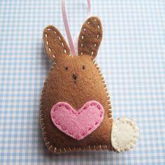 Handmade Felt Bunny Decoration by ilovehearts on Etsy