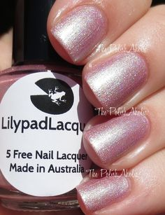 Lilypad Lacquer Delicate Duos Collection & Cartjacked (Nail Polish Canada Exclusive) Swatches & Review  Tender Touch is a light mauve-y pink with a greenish flash of shimmer. For some reason the shimmer is photographing a bit silvery gold, but I promise it is much more green in person!