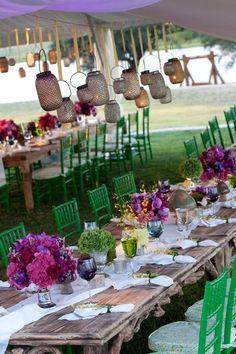 Eclectic outdoor wedding by Bella Flora http://bellafloraofdallas.com