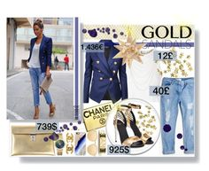 """""""The sandals of gold"""" by mariamharrasova ❤ liked on Polyvore featuring MANGO, Chanel, Glamorous, Balmain, Brewster Home Fashions, H&M, Golden Goose, Michael Kors, Wet Seal and Casetify"""