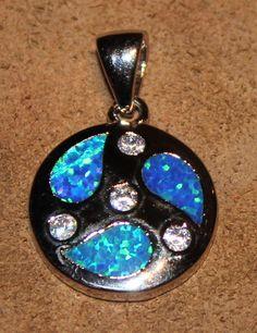 blue fire opal Cz necklace pendant Gemstone silver jewelry modern B432 #Pendant