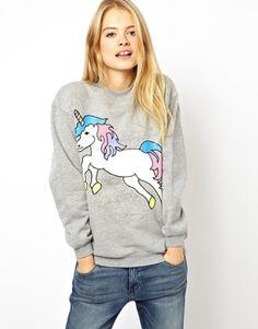 Image 1 ofASOS Sweatshirt with Unicorn Print