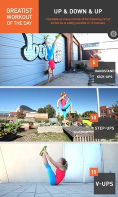 Greatist Workout of the Day, Wednesday, September 3: Up & Down- 15 minutes of 5 handstand kick-ups, 10 step-ups, 15 v-ups
