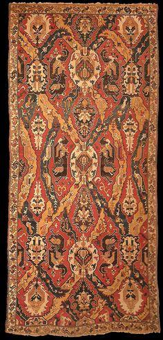 Early Caucasian Dragon rug, Shirvan or Karabagh, 17-18th c., Azerbaijan. Philadelphia Museum, gift in memory of Philips M. Sharples by members of the Sharples family. 244 x 526 cm