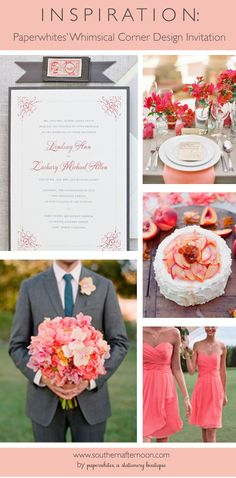 Pinboard featuring Paperwhites Kiev classic wedding invitation with a beautiful corner detail. Lovely coral and gray is pretty and wearable.