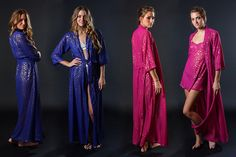 Between the Sheets Collection - coming Nov 13 Leopard Play cobalt/gold and fuchsia/gold foil print leopard print dressing gown