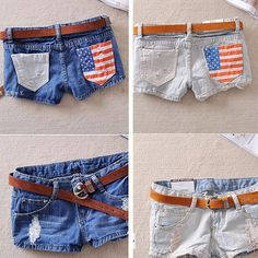 Women Shorts Denim Jeans Shorts Casual Hot Pants American Flag Print Short Pants