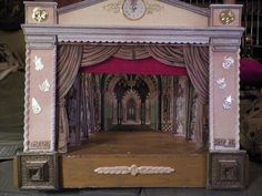 Antique Toy Theater- Circa 1920's stage, backdrops Paper Litho wood Sold on eBay 11-24-2012 for 450.00