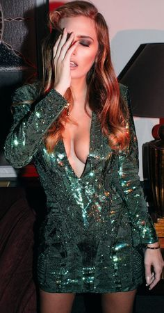 Balmain & H M Emerald Sequin Plunge Little Dress Fall Party Style Inspo by The Pile Of Style