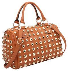 edbca55d5fde Anais Gvani Bags Bling Studded Barrel Brown Saffiano Faux Leather Satchel.  Save big on the