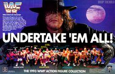 Undertaker in WWF Action figure advertisement. Wwf Toys, Wwf Hasbro, Wwe Action Figures, Wrestling Superstars, Retro Toys, Vintage Toys, Childhood Toys, Childhood Memories, Wwe Photos