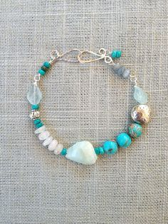 Opal, Turquoise, Tourmaline, Quartz Crystal & Aquamarine Bracelet with handcrafted sterling silver clasp.