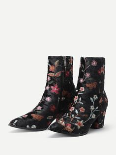 SheIn offers Side Zipper Calico Embroidery Velvet Ankle Boots & more to fit your fashionable needs. Velvet Ankle Boots, Boots Online, Rubber Rain Boots, Booty, Zipper, Embroidery, My Style, Fit, Women's Shoes