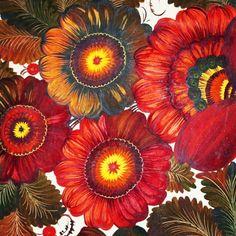 🌸 by tamara kudish  .  .  .  #petrykivka #петриковка #петриковкаяроспись #петриківка #петриківськийрозпис #decorative #flowers #paint #floralart #ukrainian #ukrainianart #folkart #art #ukraine #folk